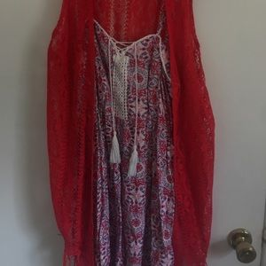 Red/White/Blue Dress with lace Cardigan